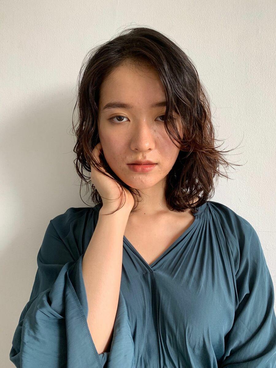 前髪なしのひし形ミディアムパーマスタイル/表参道/ANTI/@cho_anti