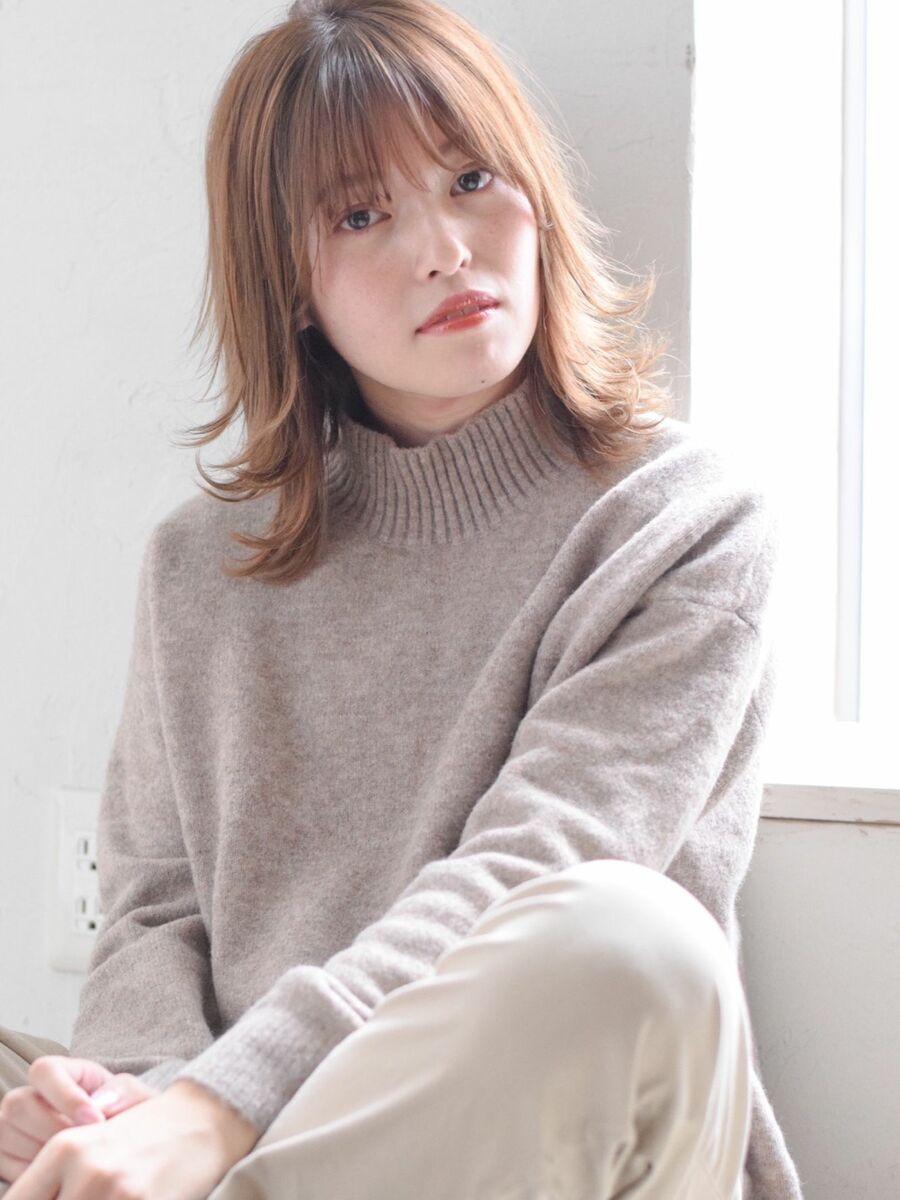 駅から直結徒歩5分の美容室joemi by unami透け感カラーと切りっぱなしレイヤーボブディ