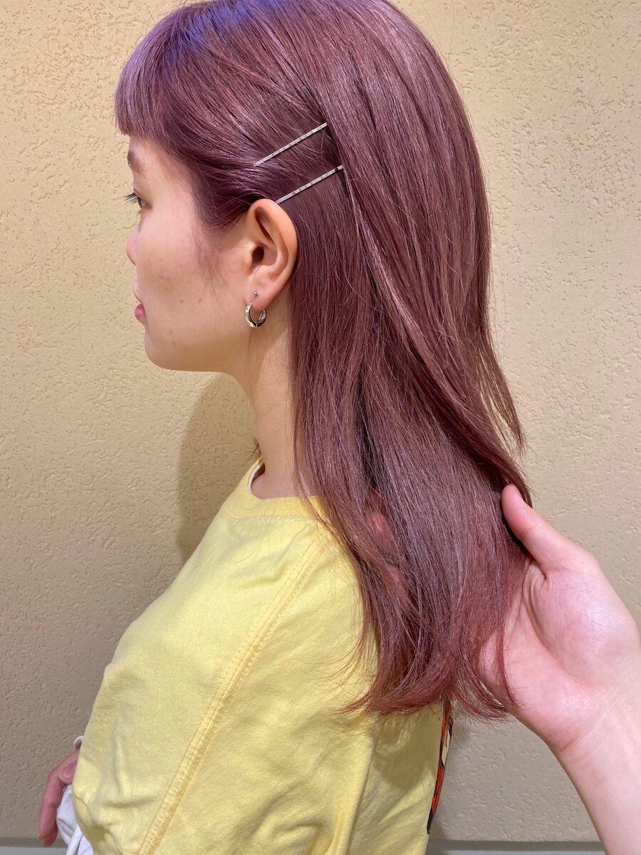新宿駅直結徒歩5分の美容室joemi by unamiブリーチカラーで透明感抜群ピンクカラーに!