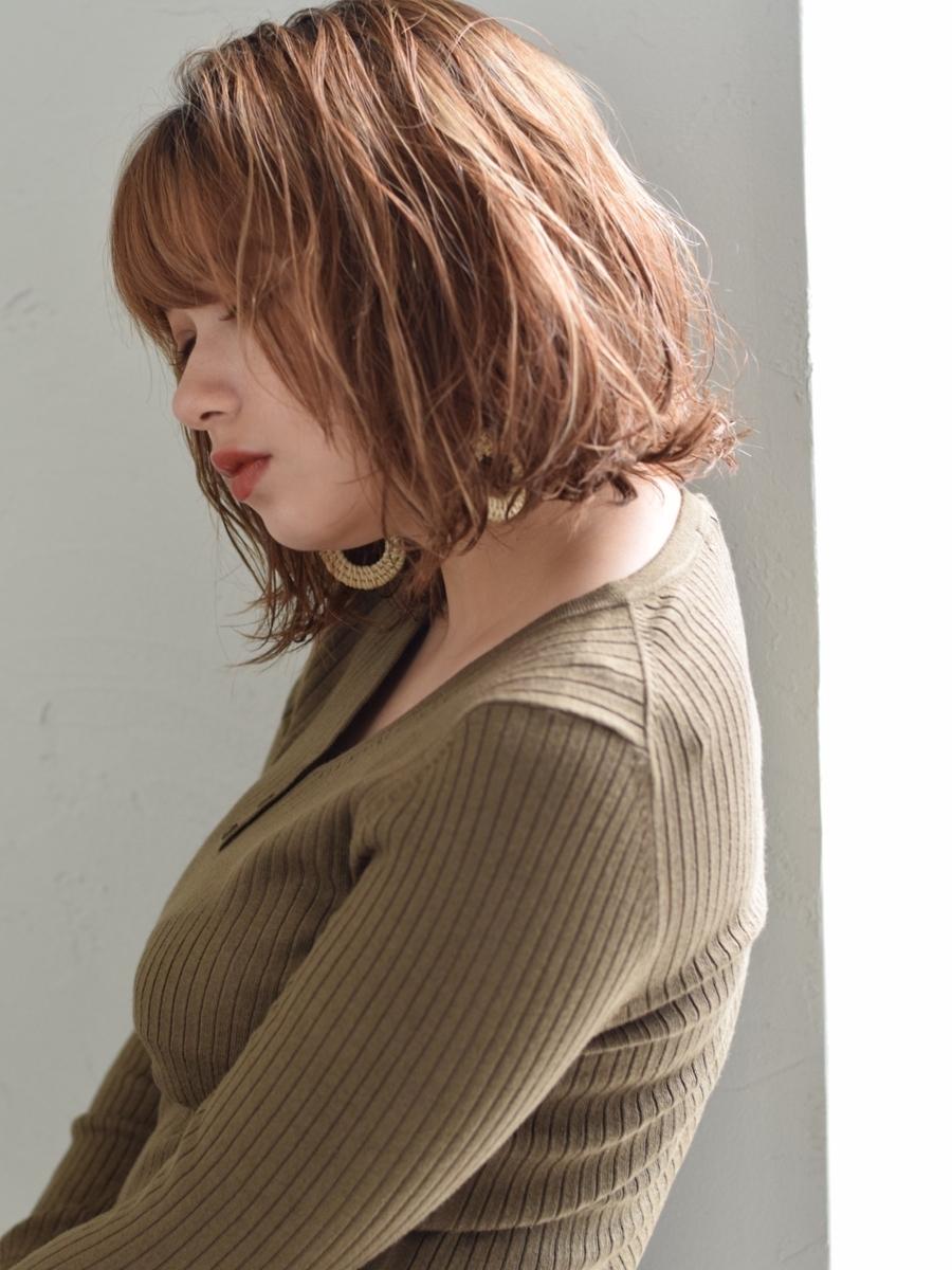 駅から直結徒歩5分の美容室joemi by unami 抜け感のあるナチュラルパーマショートボブ