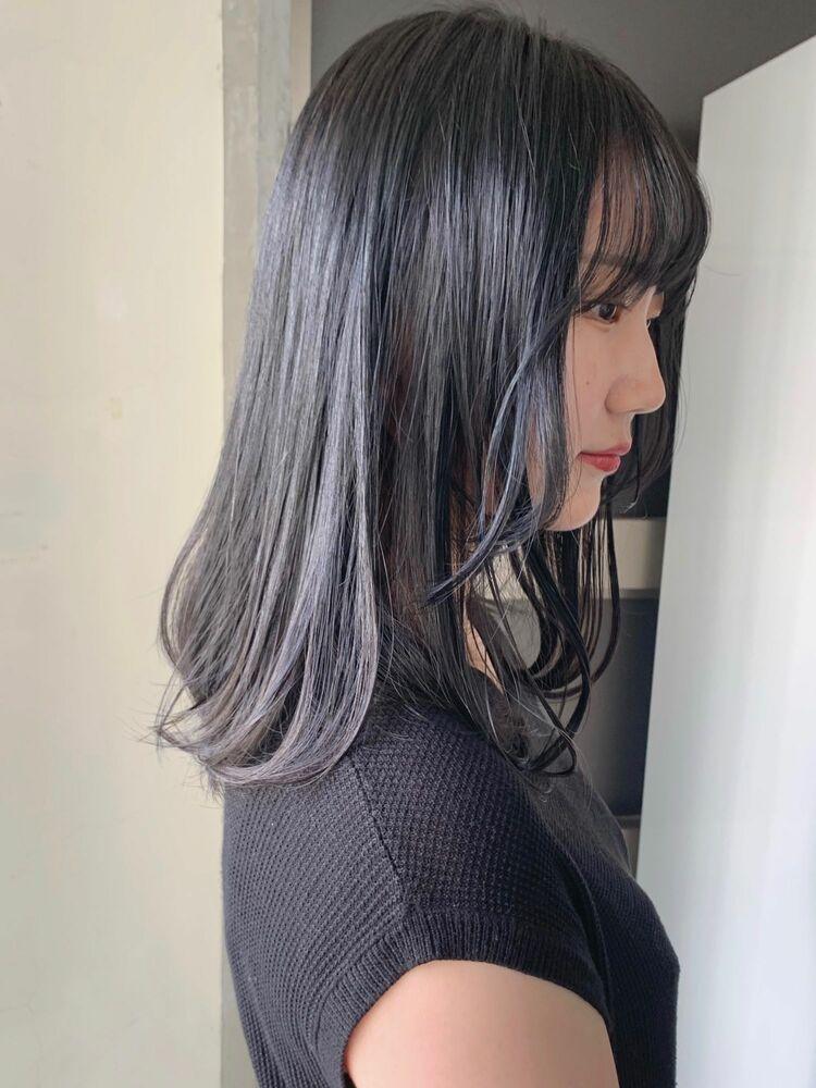 シースルーバング/大人可愛い/暗髪カラー/ブルージュ/地毛風カラー/透明感カラー/赤みを消すカラー