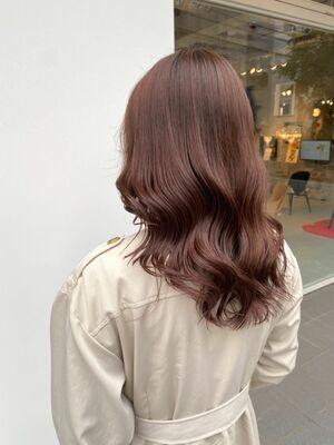 ブリーチなし。まろやかな艶髪、ピンクブラウン♡