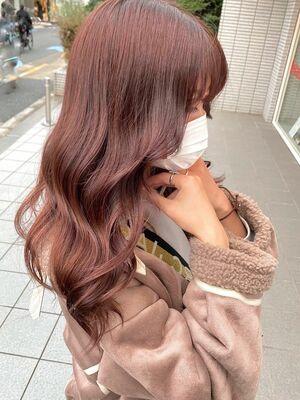 ブリーチなし。寒い冬に映える、まろやな艶髪♡ピンクブラウン