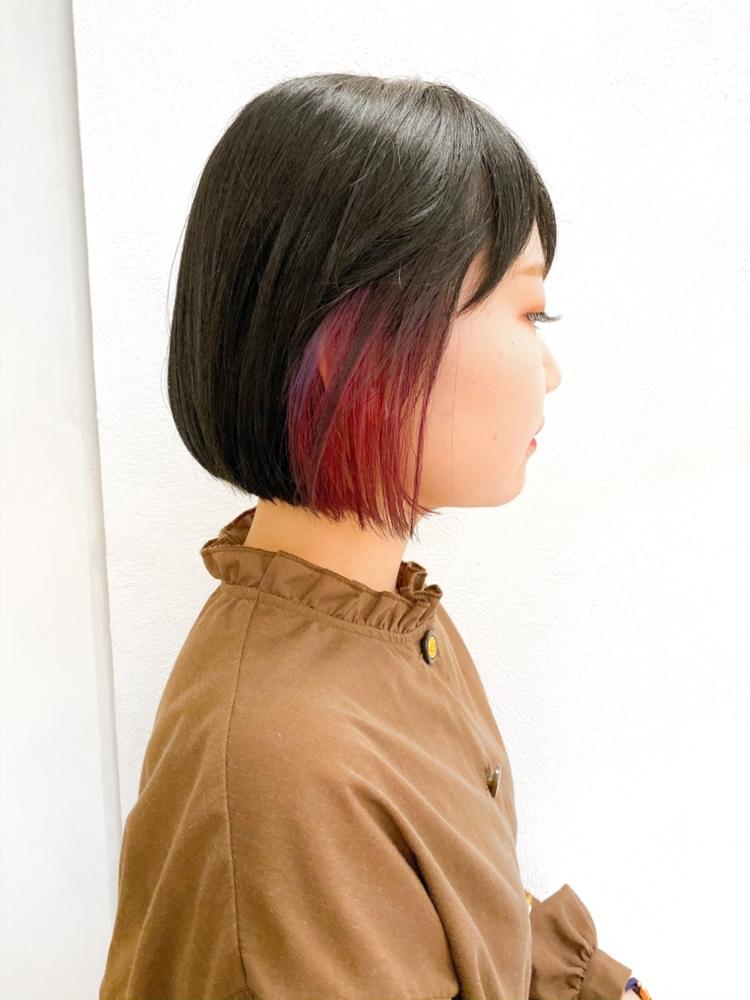 インナーカラー×ピンク×ミニボブ