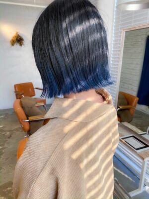 ⦅vicca'ekolu高松⦆⦅切りっぱなしボブ×裾カラーブルー⦆、明治神宮前駅徒歩5分