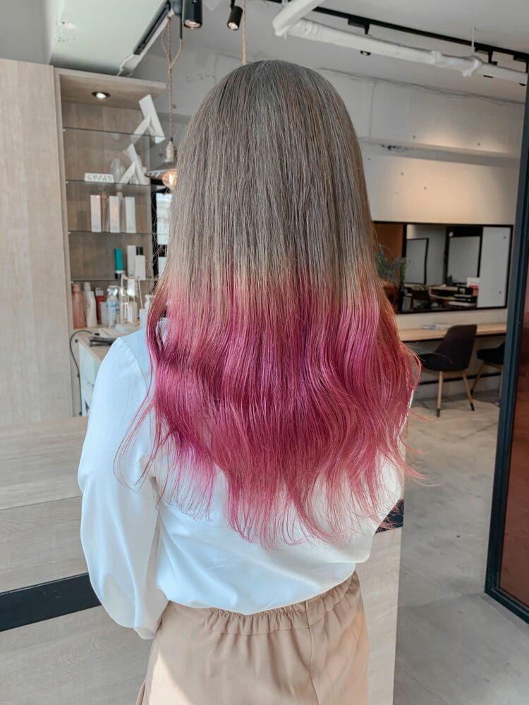 ピンクが可愛いグラデーションカラー💞🌷