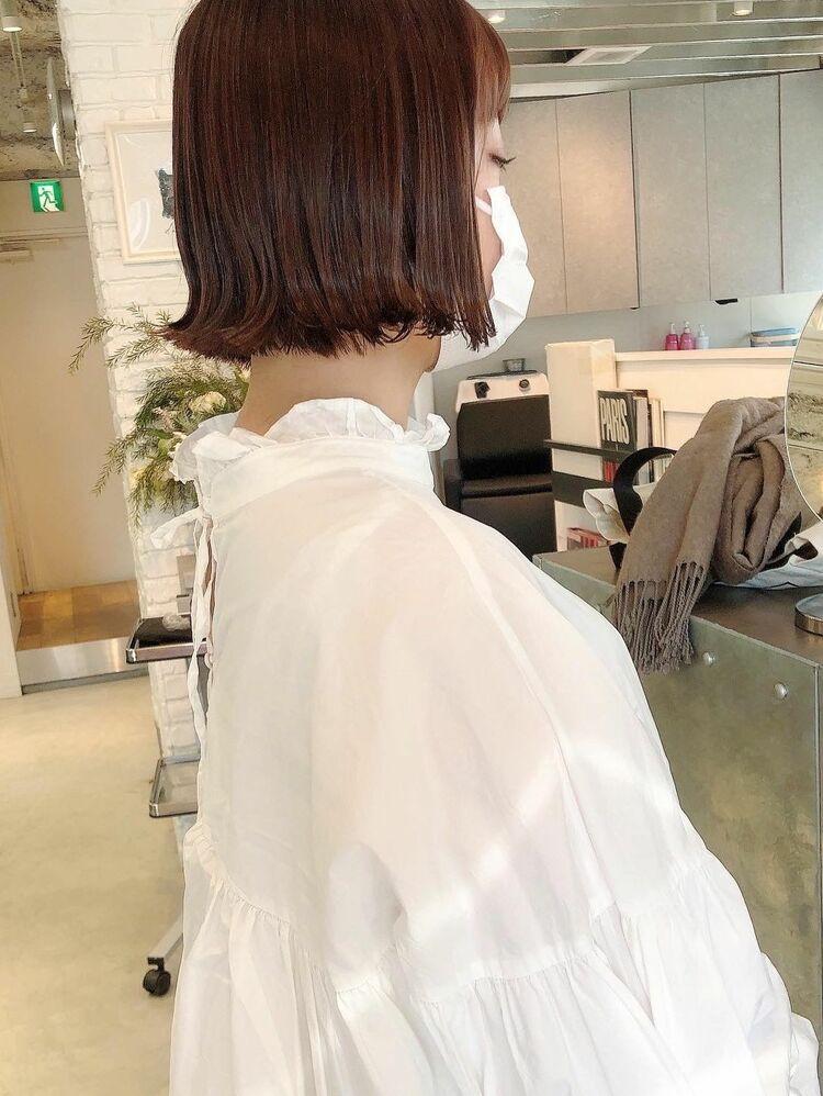【渋谷 salon dakota】 切りっぱなしボブ×ピンクベージュ