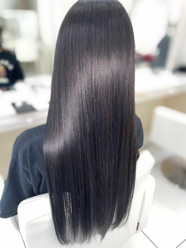 髪質改善サイエンスアクア+oggiottoトリートメント+超音波アイロン ブルーブラック透明感カラー