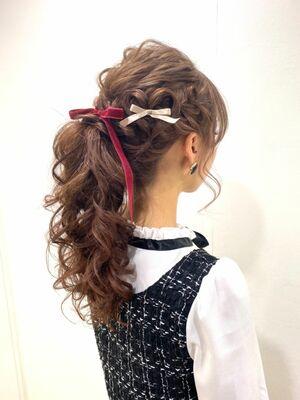 ハートヘア×編み込み×ポニーテール♡