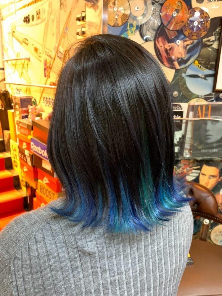 ブルーとターコイズ2色使いのインナーカラー