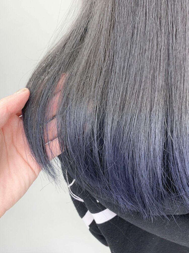 毛先カラーのダークブル