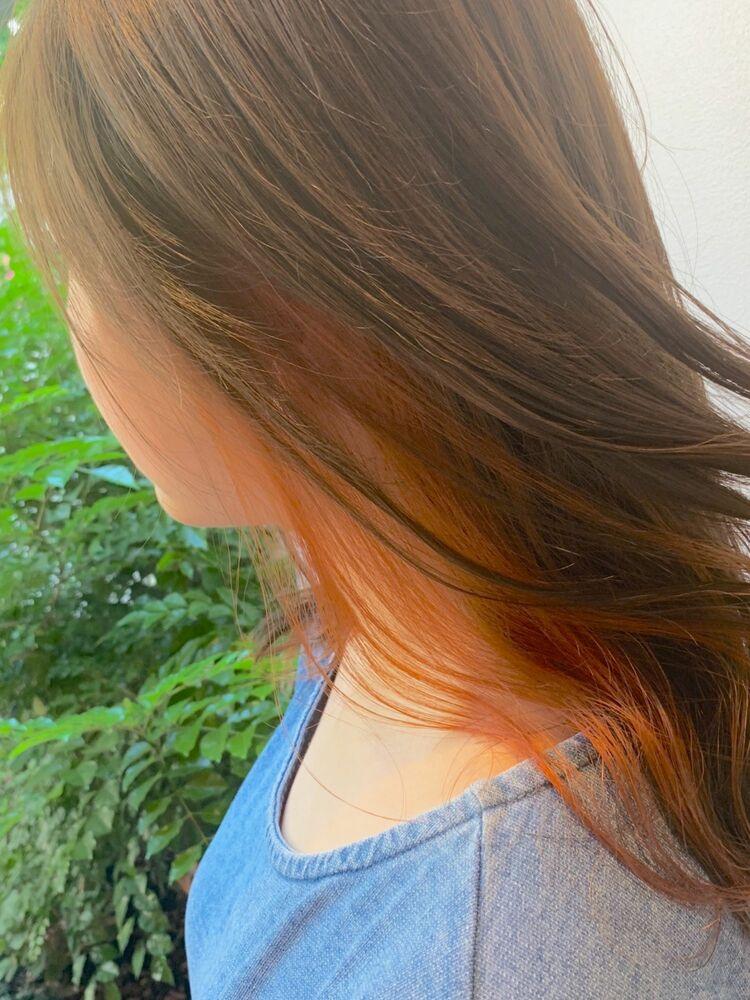ブラウン×くすみオレンジのインナーカラー