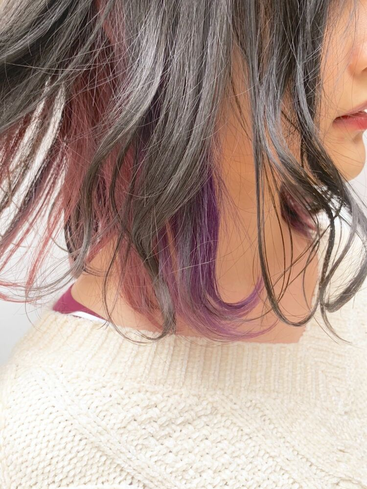 ピンクとパープルのよくばりインナーカラー