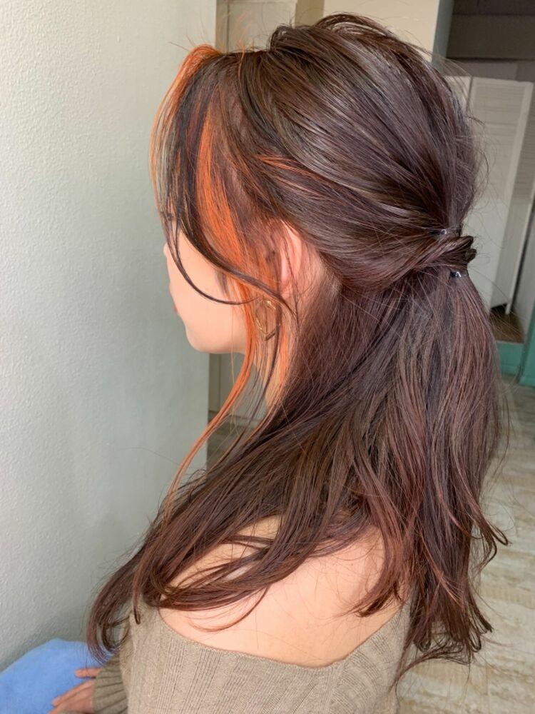 ビタミンオレンジフェイスフレーミングアレンジヘア/デザインカラーはお任せください/自由が丘駅徒歩3分
