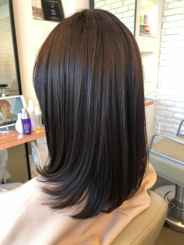 縛れる長さの髪質改善ストレートヘアスタイル