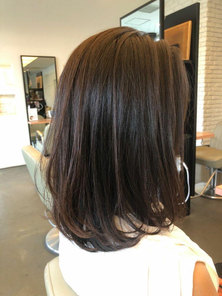 40代縛れる長さの髪質改善ストレートスタイル