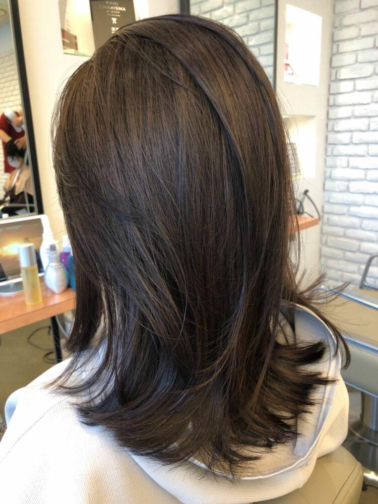 髪質改善でふんわり縛れる長さの大人ヘアスタイル