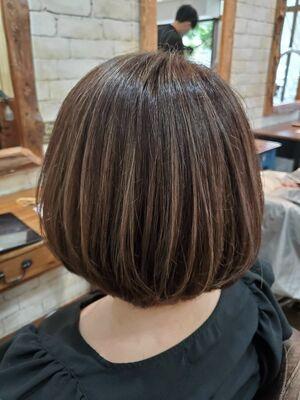 ハイライト ショートボブ 40代 西葛西 髪質改善