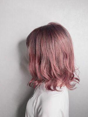 ピンクカラーはミディアムボブが可愛い❤︎♯韓国風#グレージュ#ベージュ#オリーブ#アッシュ#ピンク