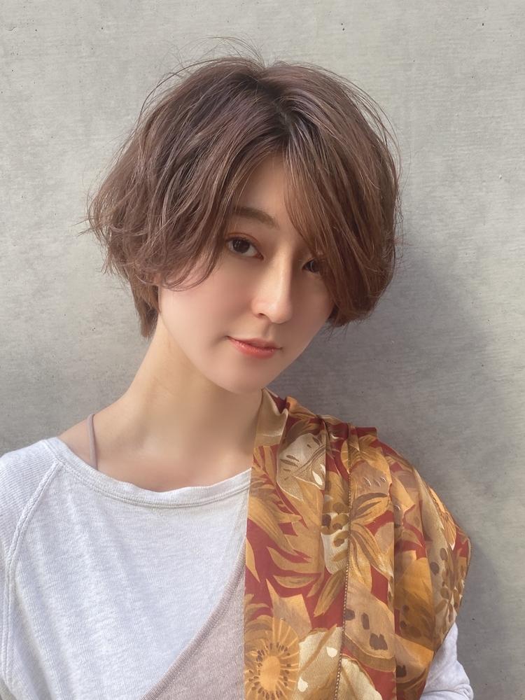 銀座Lond 島田敬之 ゆるふわに魅せるフェミニンショート/スモーキーベージュ