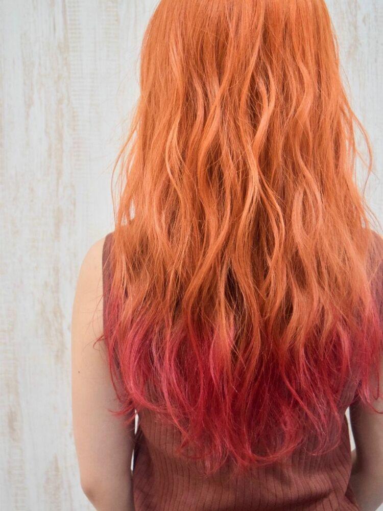 *裾カラー*オレンジ×レッド