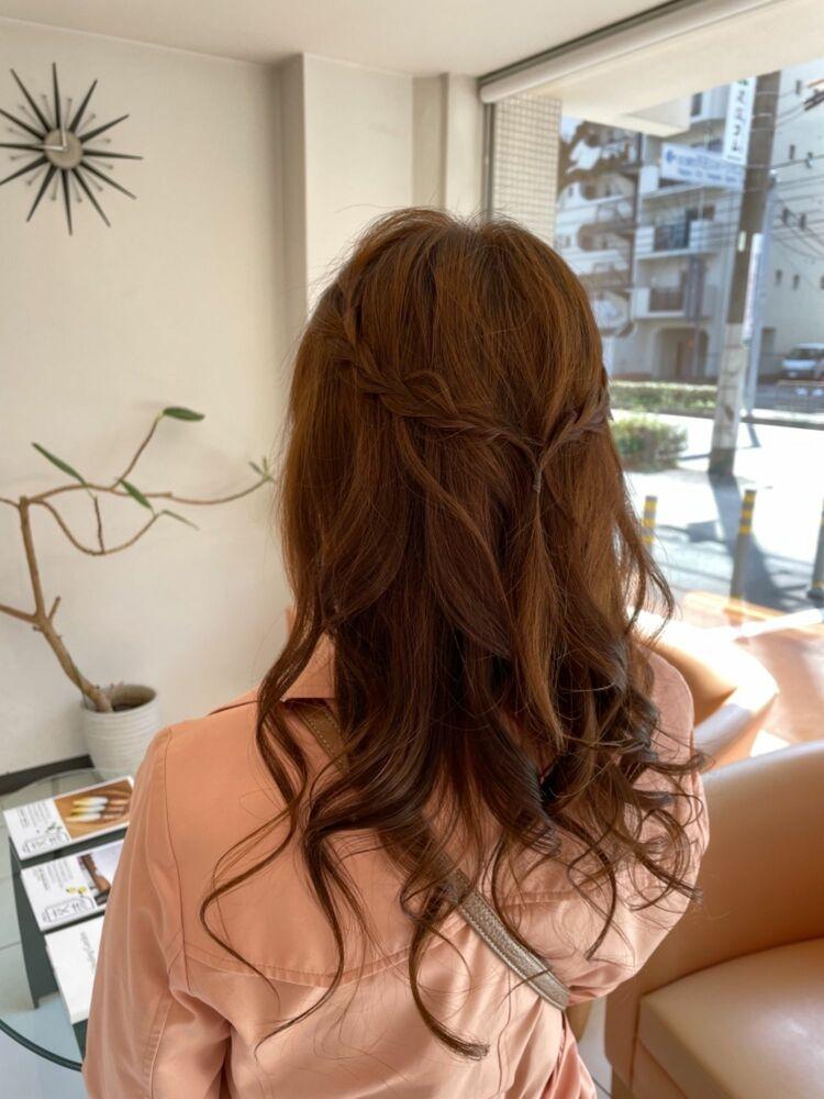 編み込み簡単アレンジヘア