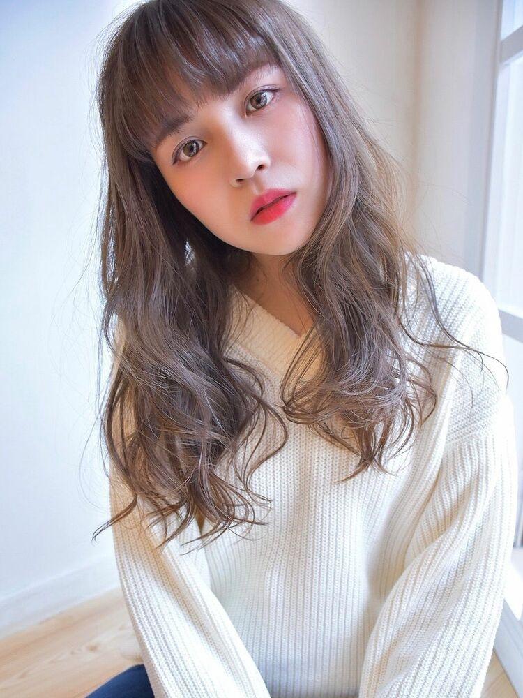 重め前髪フワフワレイヤーxコバルトガーネットカラー(ノンブリーチ透明感カラー)