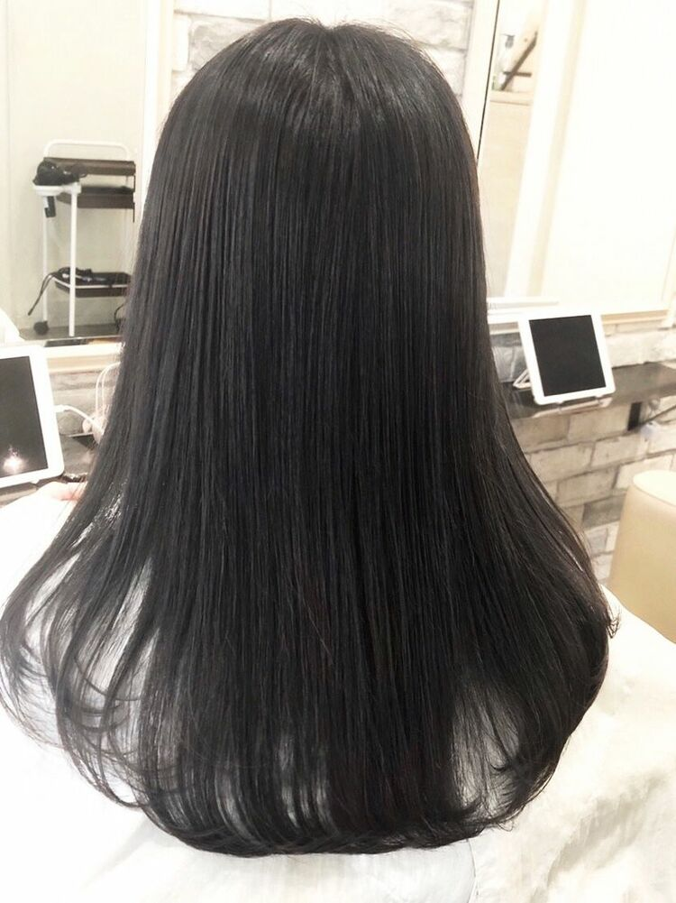 暗髪透明感のゼロアルカリストレート
