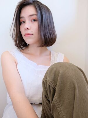 《ささきまさき》『髪質改善カット』+ワンレンボブ+オリーブベージュ