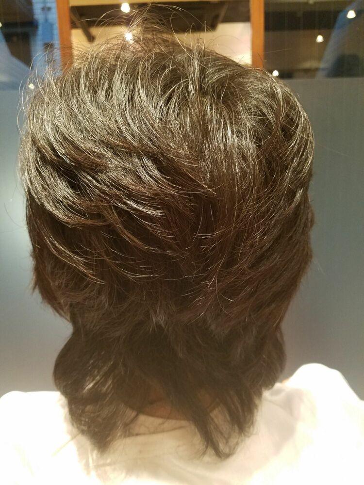 50代ミディアムヘアです。定番スタイルで再現性に優れてます。