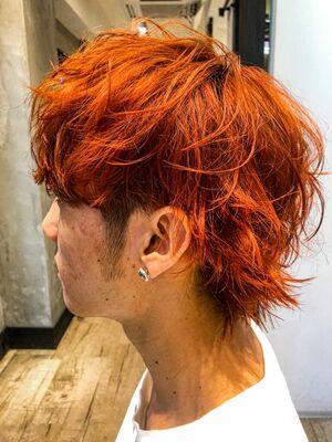 オレンジ×ウルフヘア