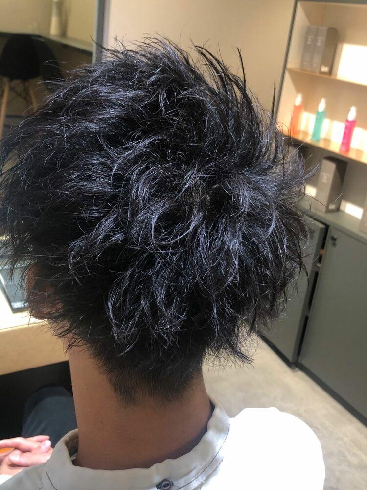 短すぎないメンズショート、アップバングも、前髪下ろすスタイルもできるよ!