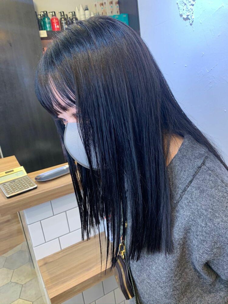 韓国 ぷつっとカット ブルーブラック