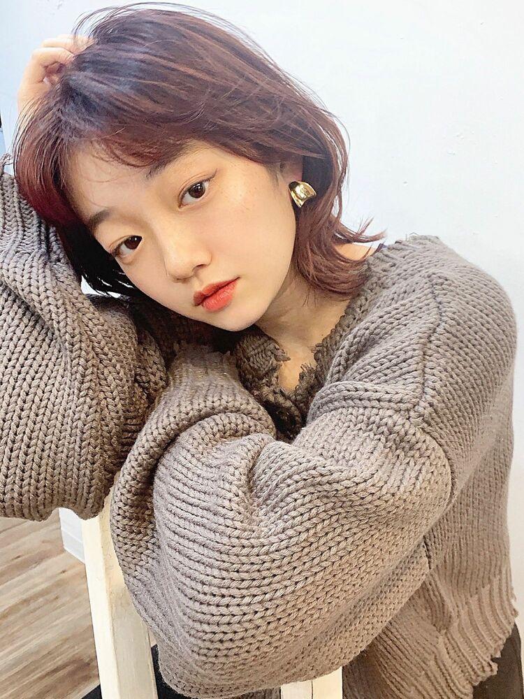 韓国ヘア くびれミディ × チェリーレッドカラー