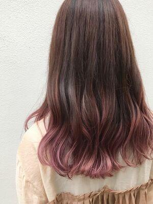 ピンクグレージュ×バレイヤージュカラー
