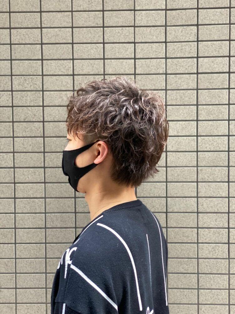 マスクに合うメンズショート スパイラルパーマ