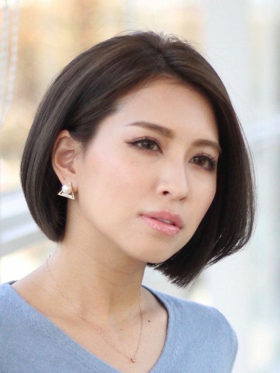 大人女性の小顔で卵顔の似合わせ菱形エレガントボブ陰影カラーで立体艶カラーミスエッセンス竹下