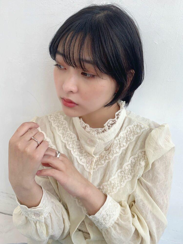 韓国風ショートボブナチュラル顔まわりレイヤー