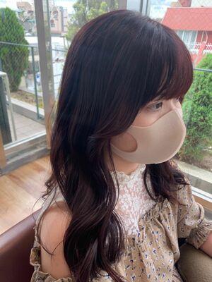 韓国風顔まわりレイヤーヨシンモリヘア/ダークチェリーピンクカラー