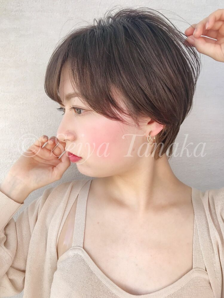 ことりベージュショートボブシースルーバングカタログ錦糸町⭐︎髪質改善