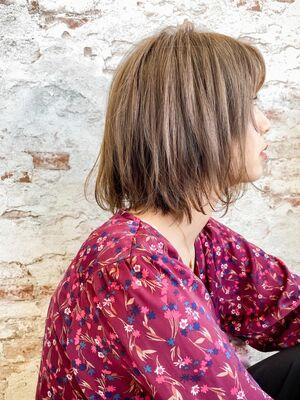 形の綺麗な卵形前下がりボブ♪アッシュブラウンシースルーバング 錦糸町南口美容室髪質改善