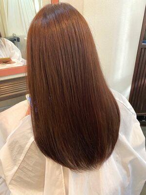 艶髪ストレートヘア×オレンジベージュ☆