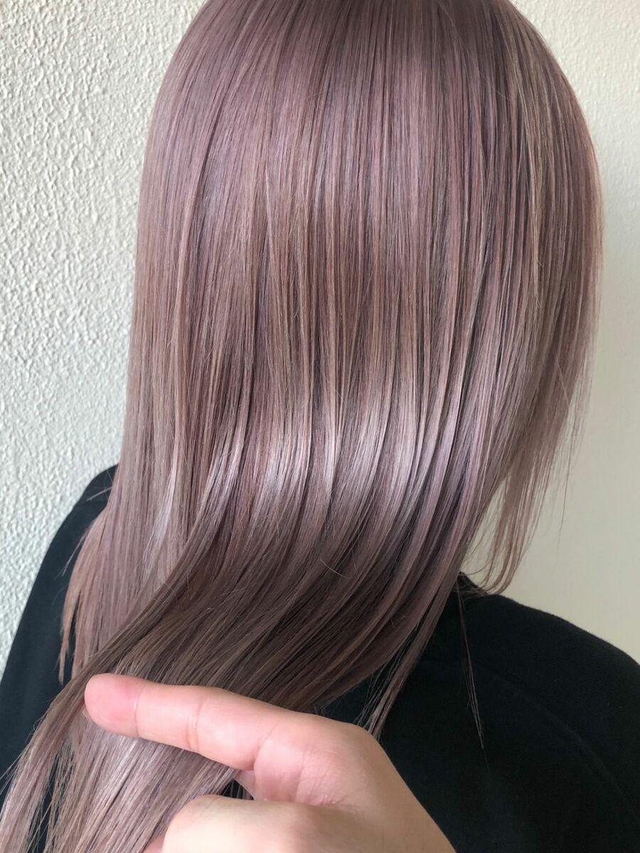 AFLOAT D'L 白川 かわいい髪色 ピンクベージュ