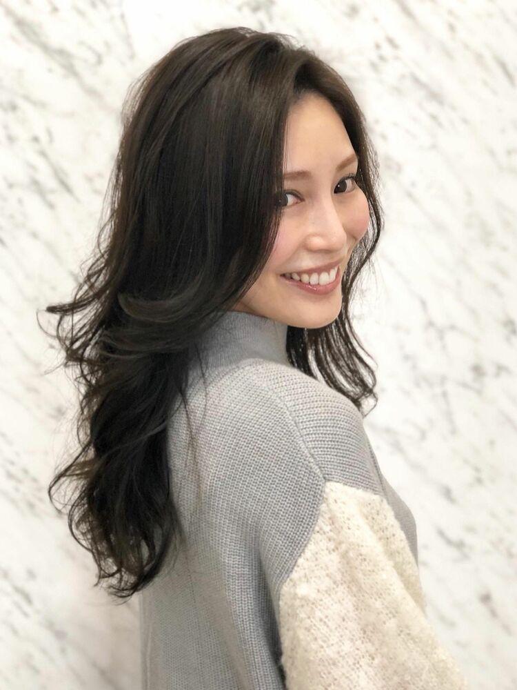 かきあげ前髪韓国式レイヤー