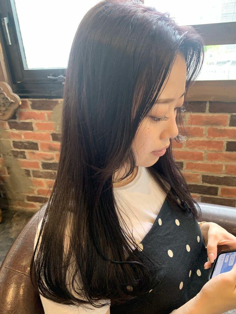 韓国風顔まわりレイヤーカット/ダークラベンダーカラー