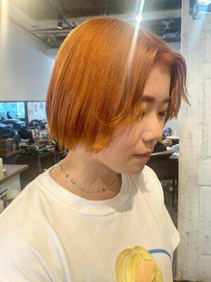 切りっぱなしボブ/ミニボブ/オレンジカラー