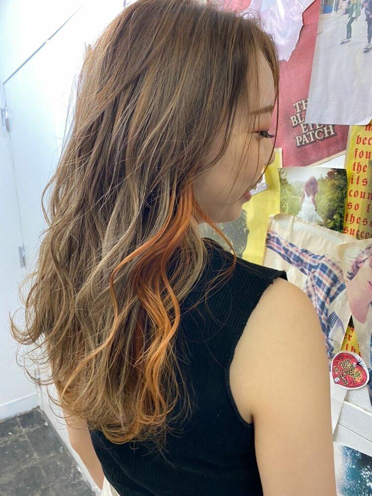 オレンジインナーカラー/ハイライトベージュ