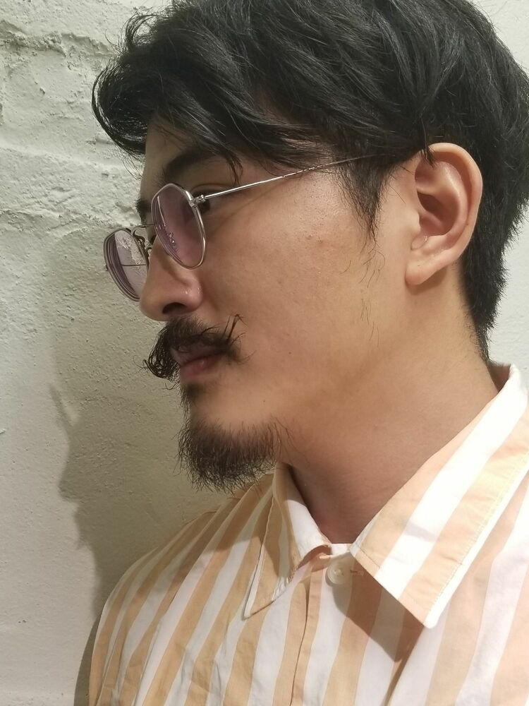 ひげパーマとヘアカット