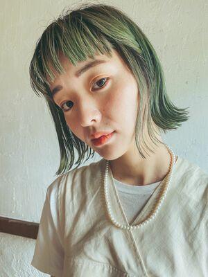 グリーンカラー×外ハネボブ 横浜鶴ヶ峰美容室