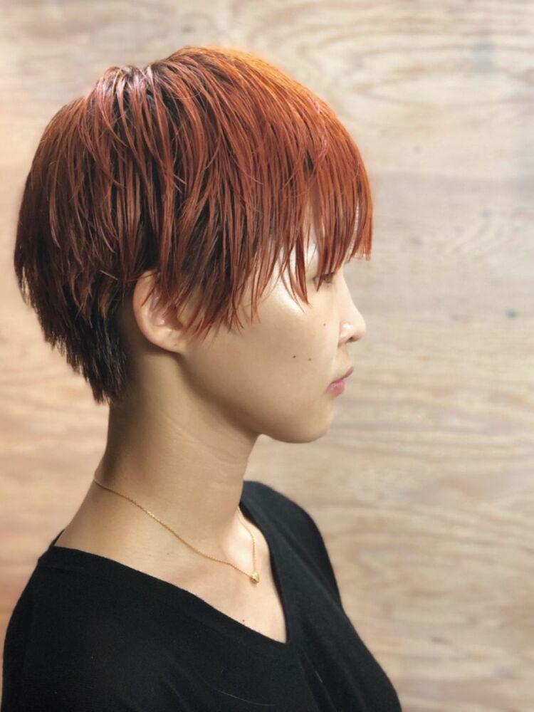 アプリコットオレンジのショートヘア